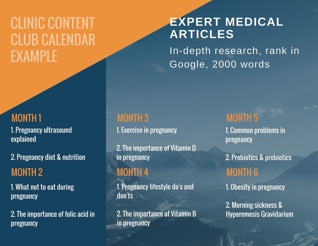 Clinic content club calendar example