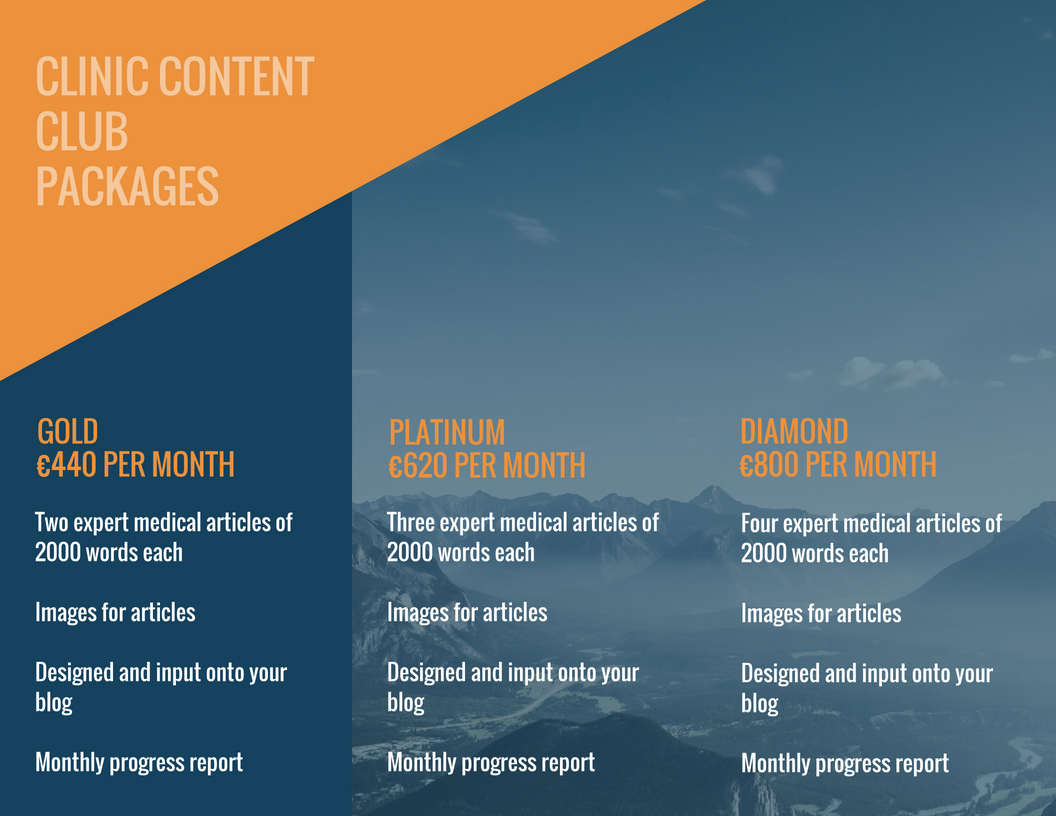 clinic content club packages